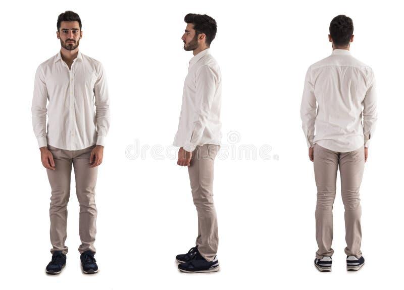Vue triple de jeune homme : de retour, avant, côté sur le blanc photo stock