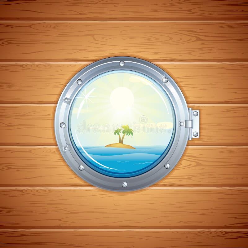 Vue tropicale d'île de hublot. Image de vecteur illustration stock