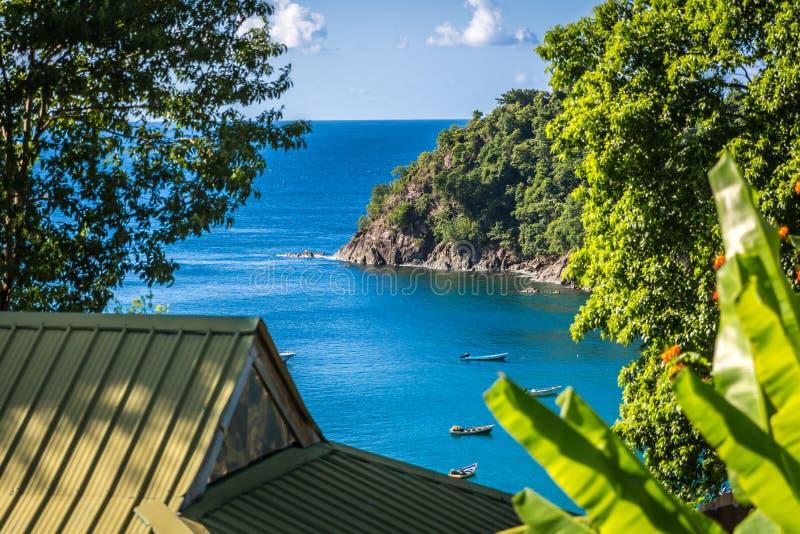 Vue tropicale de plage d'un hôtel d'avant de plage au Trinidad e Tobago, Caribe images stock