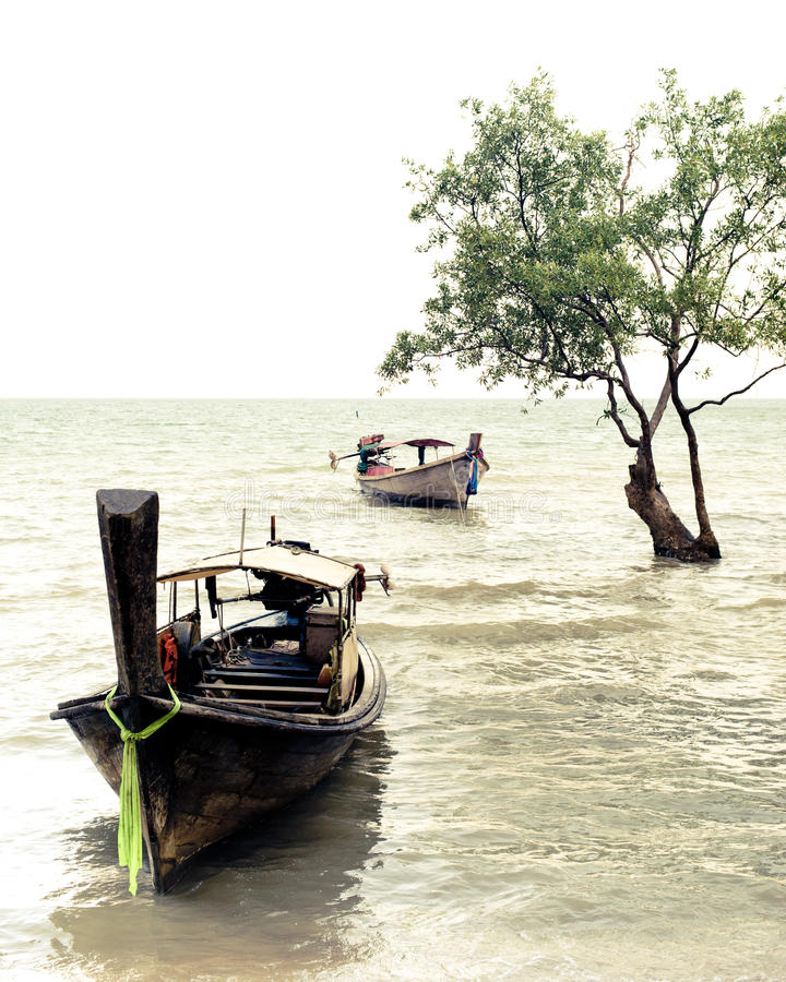 Vue tropicale de plage dans le style de vintage Paysage d'océan avec thaïlandais image libre de droits