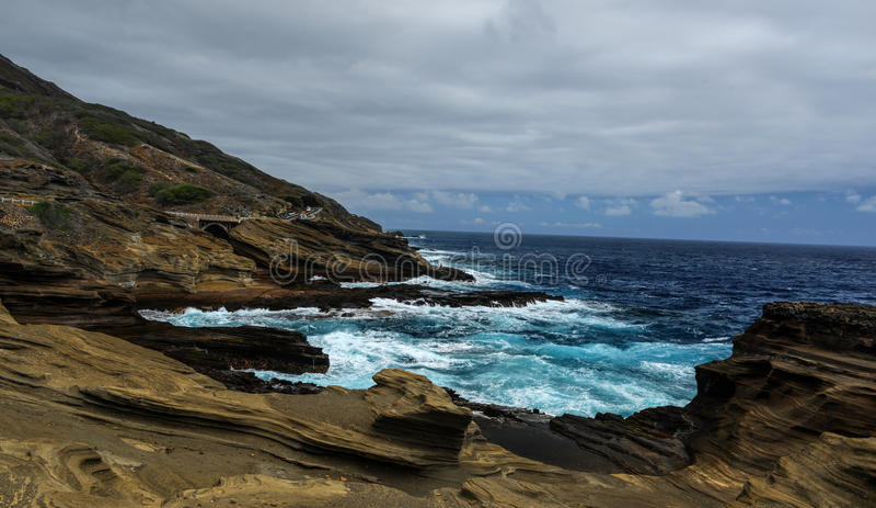Vue tropicale, surveillance de Lanai, Hawaï photos stock