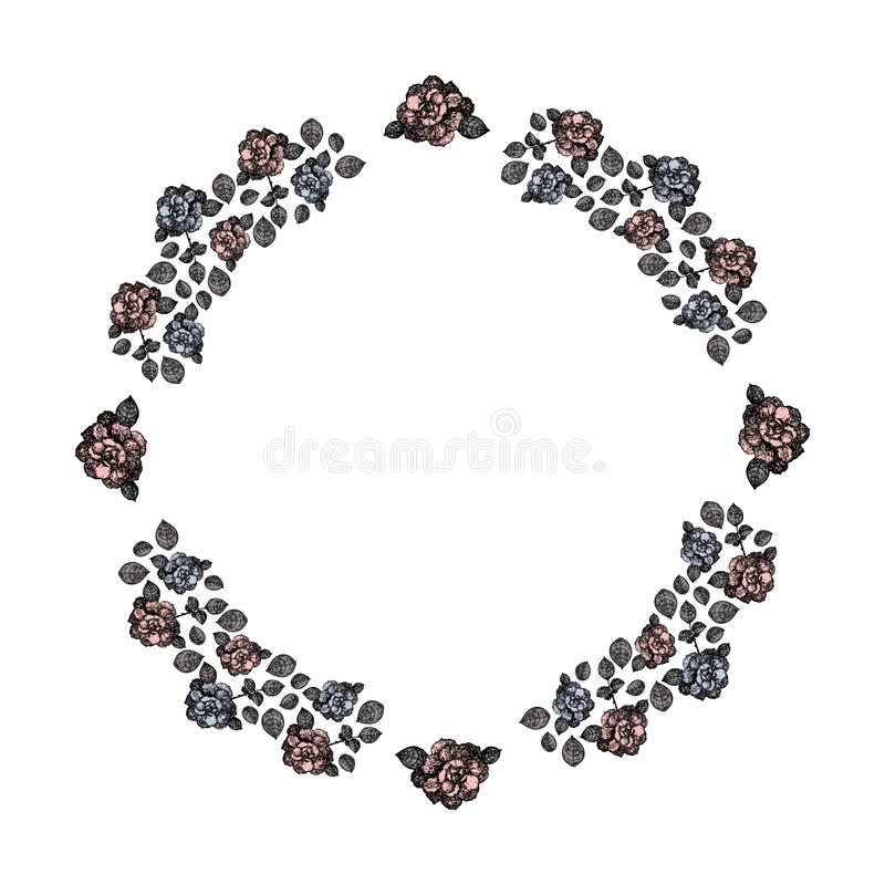 Vue Un cercle des roses et des feuilles bleues et roses de gris Vecteur illustration libre de droits