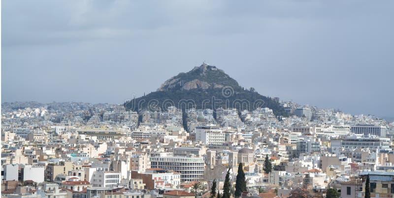 Vue vers Athènes d'une des collines photographie stock libre de droits