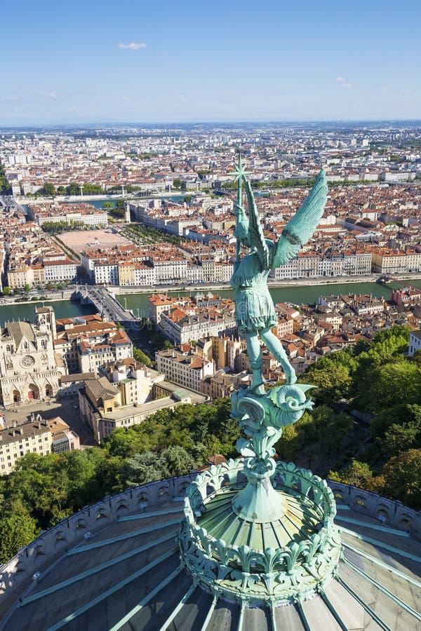 Vue verticale de Lyon photo libre de droits