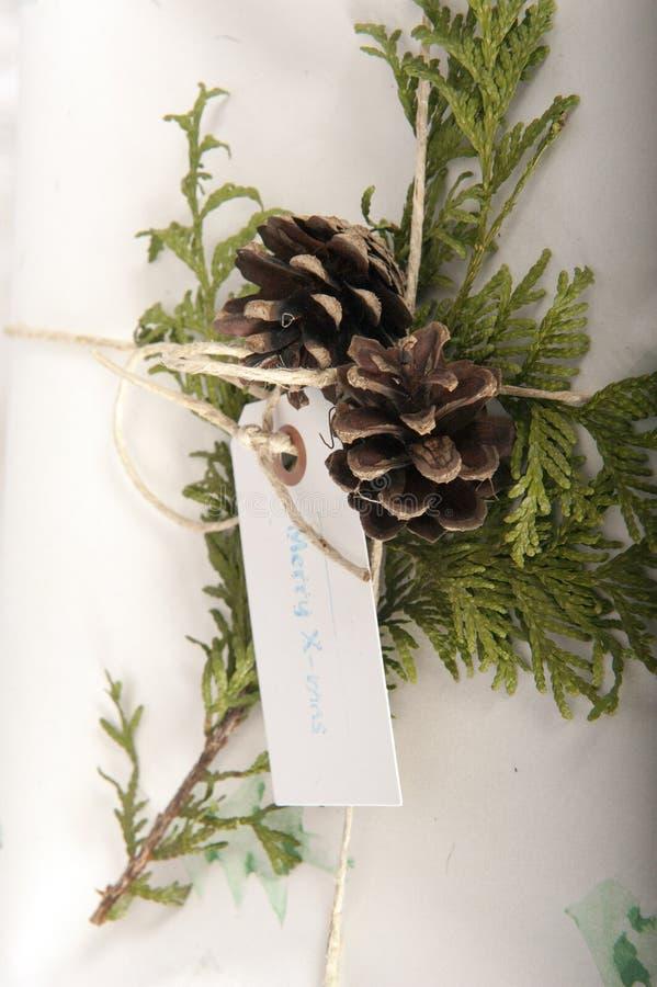 Vue verticale du cadeau de Noël Vintage image libre de droits