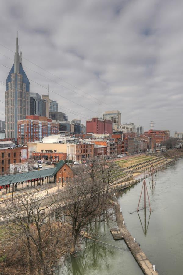Vue verticale le centre ville de Nashville, Tennessee image stock