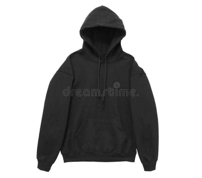 vue vide de bras avant de noir de couleur de pull molletonné de hoodie photographie stock