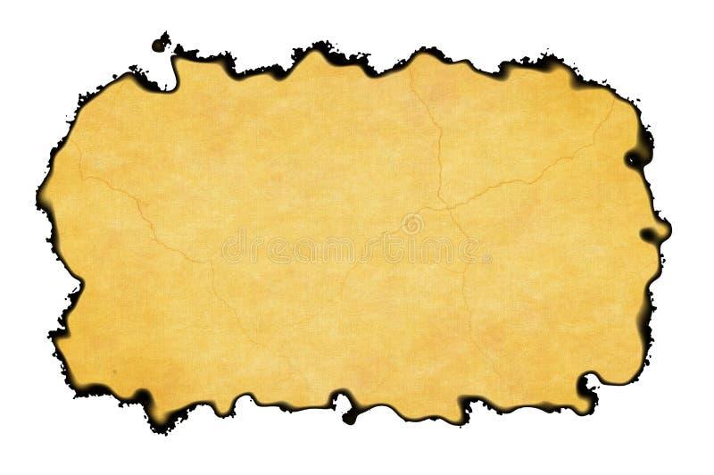 Vue vide de papier de vintage avec les bords brûlés sur les milieux blancs illustration libre de droits