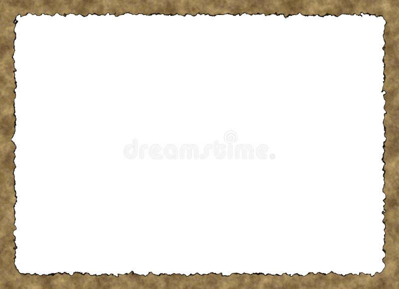 Vue vide de papier de vintage avec les bords brûlés sur les milieux blancs illustration stock