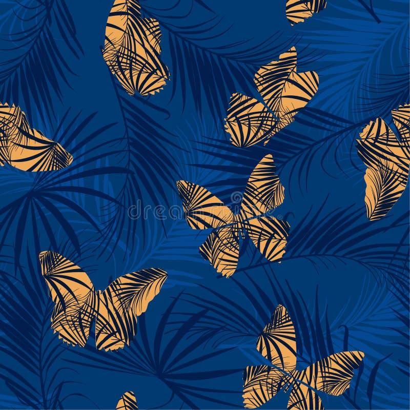 Vuelo amarillo de relleno de la mariposa del modelo tropical en la f exótica stock de ilustración