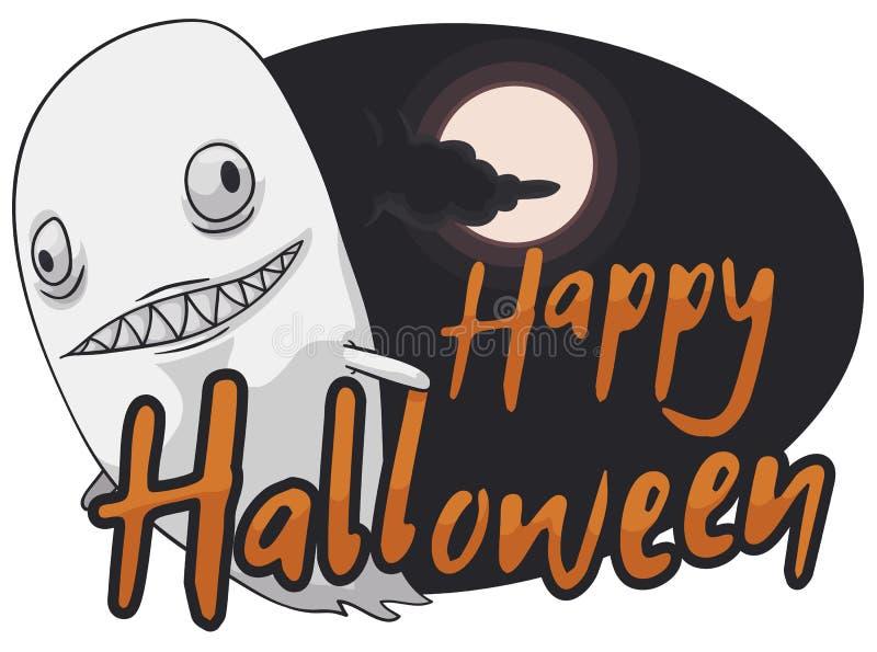 Vuelo asustadizo en Misty Halloween Night, ejemplo del fantasma del vector ilustración del vector