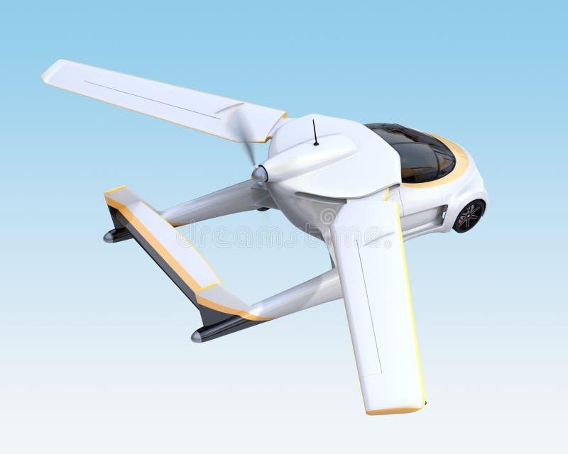 Vuelo autónomo futurista del coche en el cielo ilustración del vector