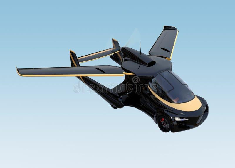 Vuelo autónomo futurista del coche en el cielo stock de ilustración