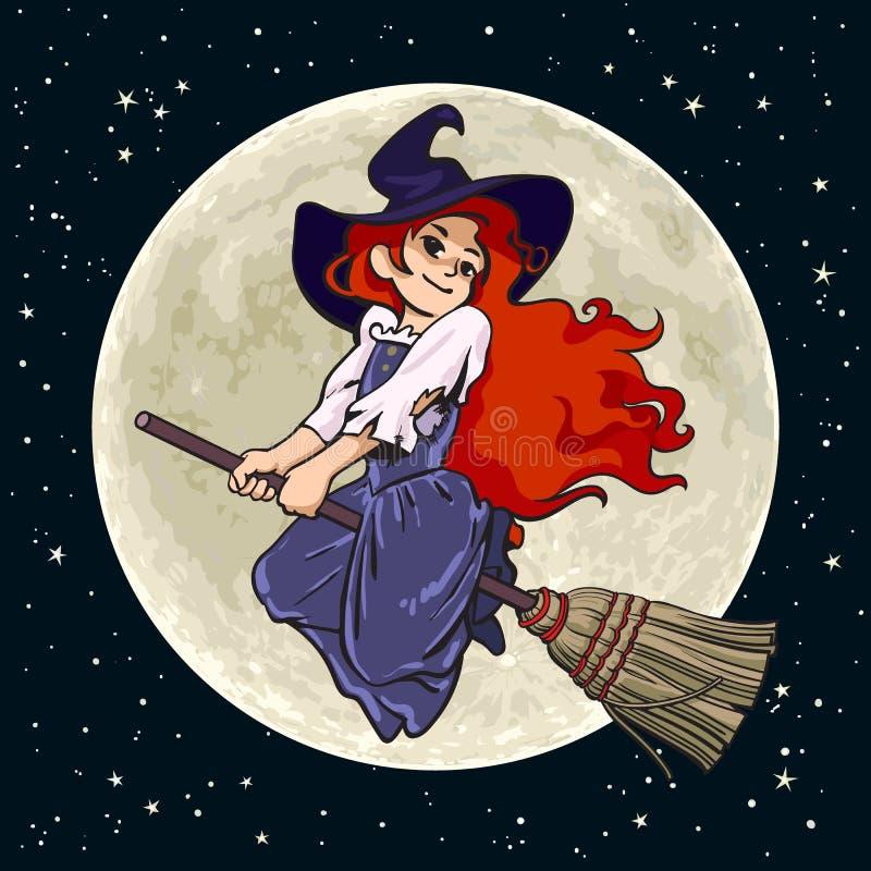 Vuelo bastante joven de la bruja en el palillo de la escoba en fondo de la Luna Llena Vector drenado mano stock de ilustración