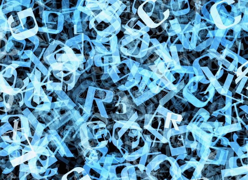Vuelo caótico de muchas letras azules abstractas del alfabeto ilustración del vector