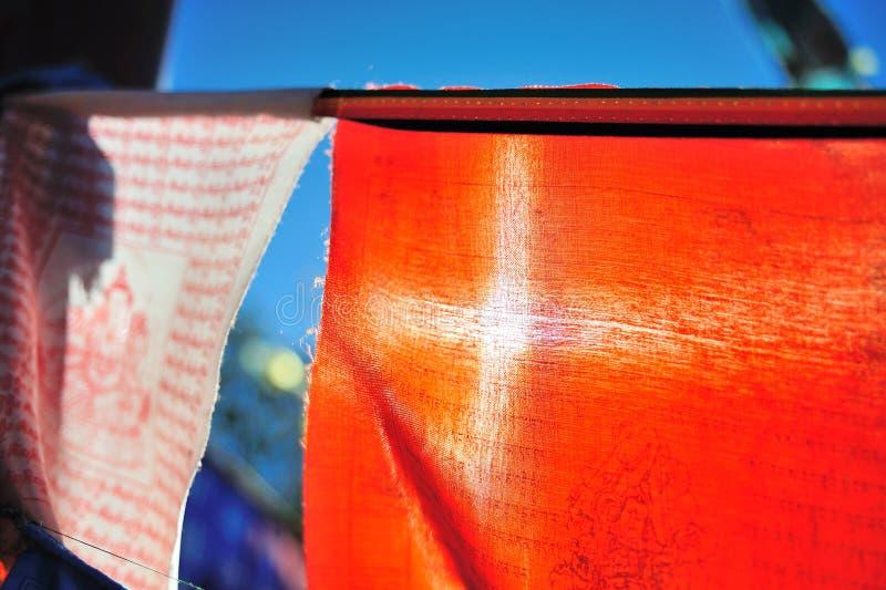 Vuelo colorido de la bandera del jugador fotografía de archivo libre de regalías