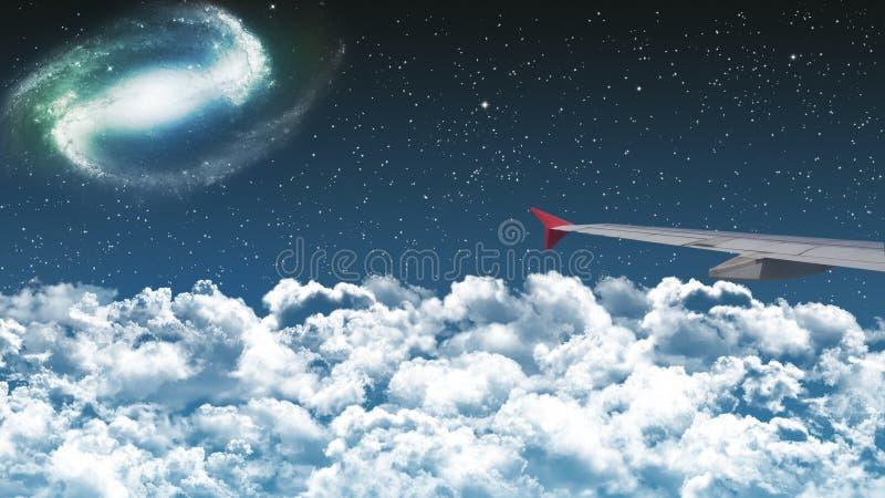 Vuelo comercial del aeroplano sobre las nubes en los wi dramáticos del cielo nocturno fotos de archivo