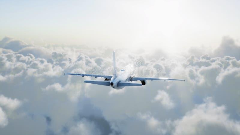Vuelo de Airbus del pasajero en las nubes concepto del recorrido representación 3d fotografía de archivo libre de regalías