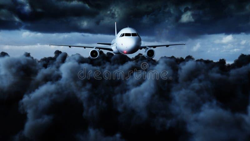 Vuelo de Airbus del pasajero en las nubes concepto del recorrido representación 3d imagen de archivo