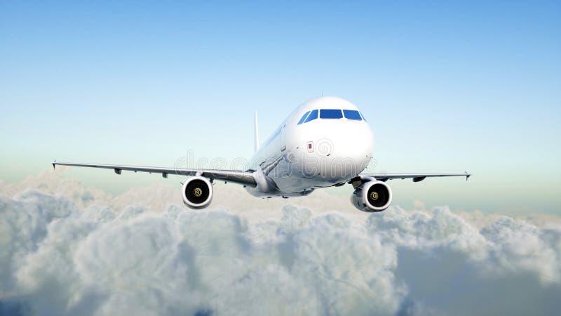Vuelo de Airbus del pasajero en las nubes concepto del recorrido representación 3d stock de ilustración
