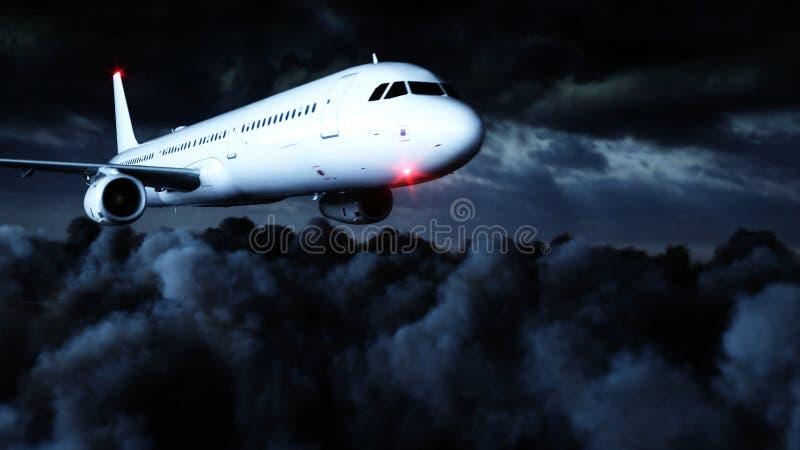 Vuelo de Airbus del pasajero en las nubes concepto del recorrido representación 3d libre illustration
