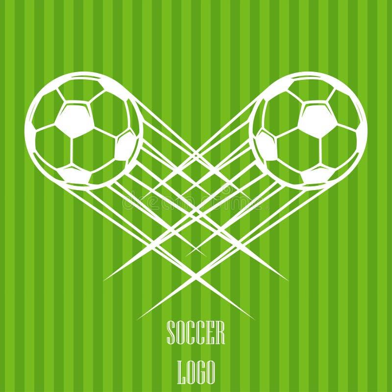Vuelo de enfoque del logotipo del balón de fútbol a través del aire Ilustración del vector libre illustration