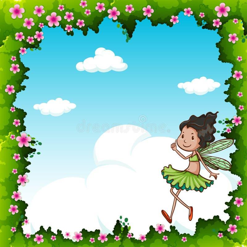 Vuelo de hadas verde en el cielo ilustración del vector
