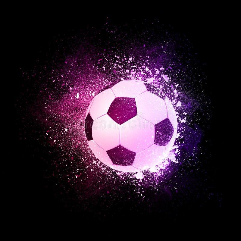 Vuelo de la bola del fútbol del fútbol en las partículas violetas stock de ilustración