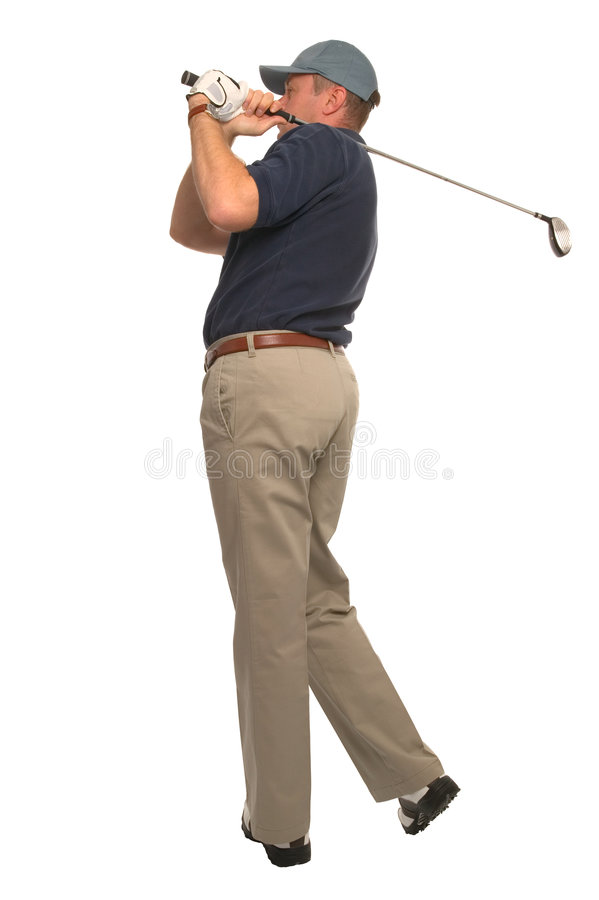 Vuelo de la bola del golfista imagen de archivo libre de regalías