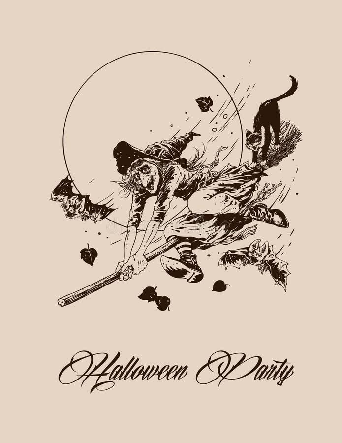 Vuelo de la bruja de Halloween del vintage en la escoba con vector del gato negro ilustración del vector