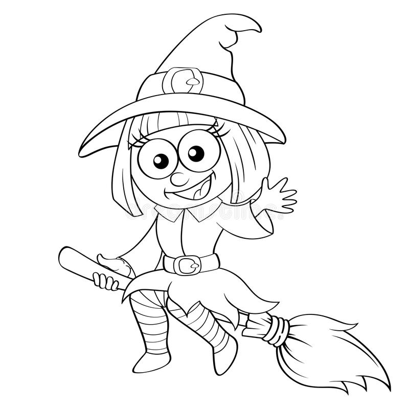 Vuelo de la bruja de Víspera de Todos los Santos en la escoba libre illustration
