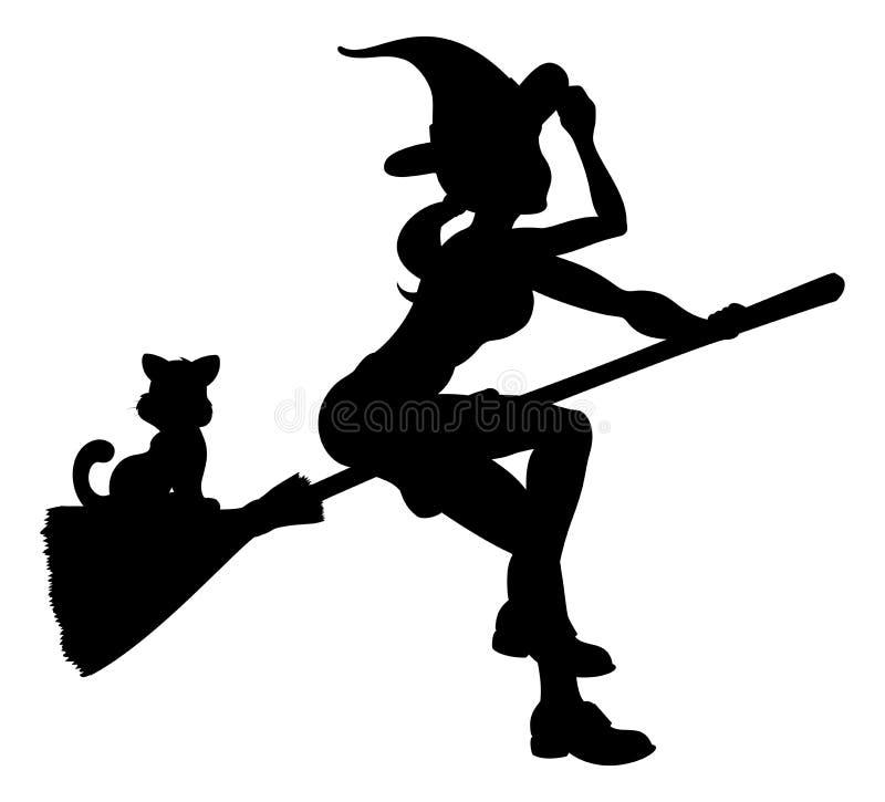Vuelo de la bruja de Halloween de la silueta en el palo de escoba libre illustration