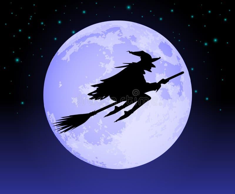 Vuelo de la bruja más allá de la luna ilustración del vector
