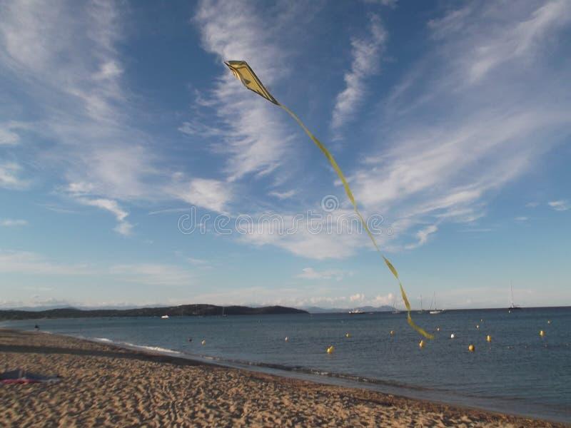 Vuelo de la cometa en la playa imagenes de archivo