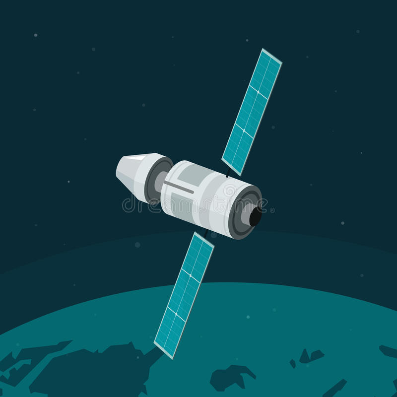Vuelo de la estación espacial en el vector de la órbita terrestre, nave espacial, nave cósmica stock de ilustración