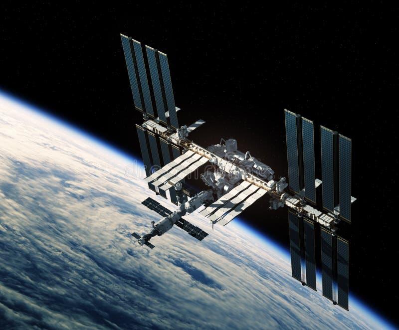 Vuelo de la estación espacial internacional sobre el huracán libre illustration