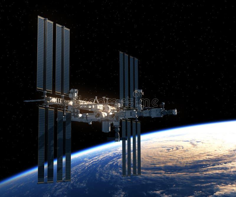 Vuelo de la estación espacial internacional sobre la tierra libre illustration