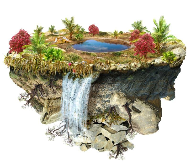 Vuelo de la isla con un lago y los árboles ilustración del vector