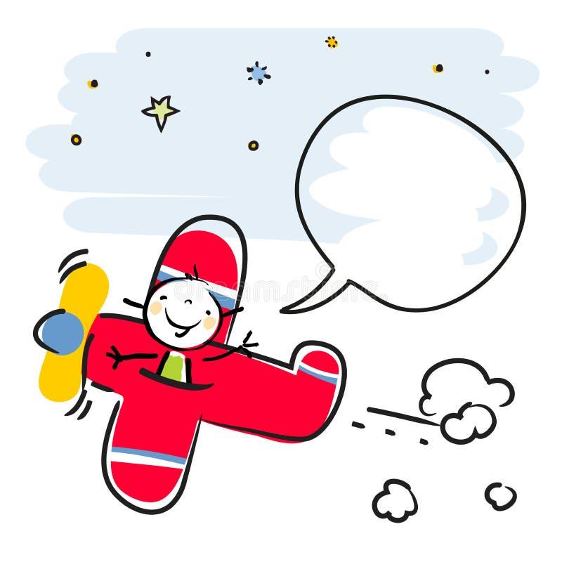 Vuelo de la muchacha en aeroplano libre illustration