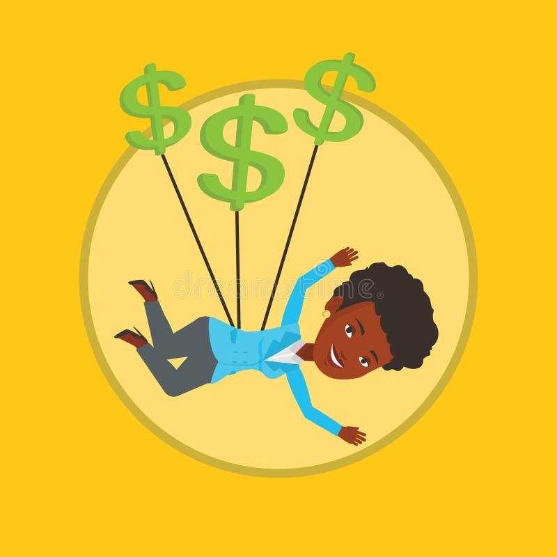 Vuelo de la mujer de negocios con las muestras de dólar stock de ilustración