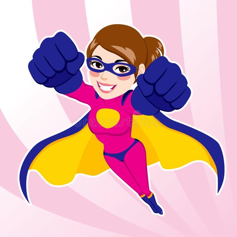 Vuelo de la mujer del super héroe stock de ilustración
