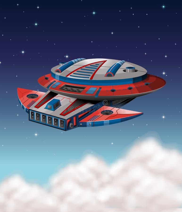 Vuelo de la nave espacial en galaxia oscura ilustración del vector