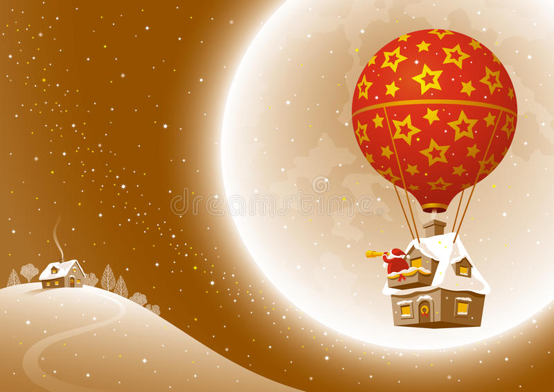 Vuelo de la Navidad de Santa ilustración del vector