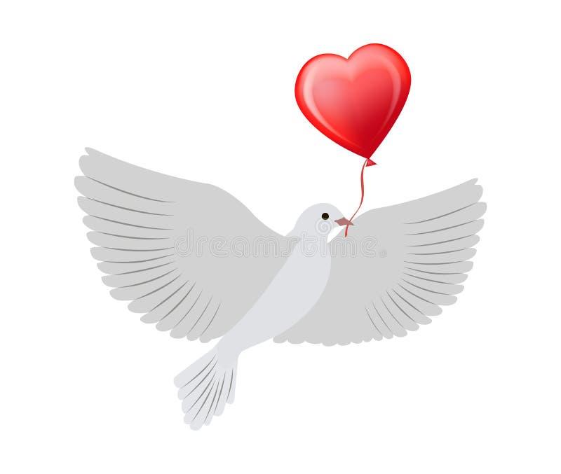 Vuelo de la paloma con el ejemplo del vector del globo del corazón stock de ilustración