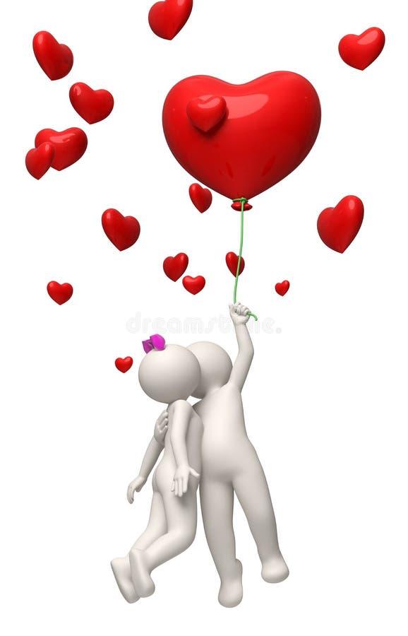 vuelo de los pares 3d con un día de tarjetas del día de San Valentín del globo del corazón del rojo stock de ilustración
