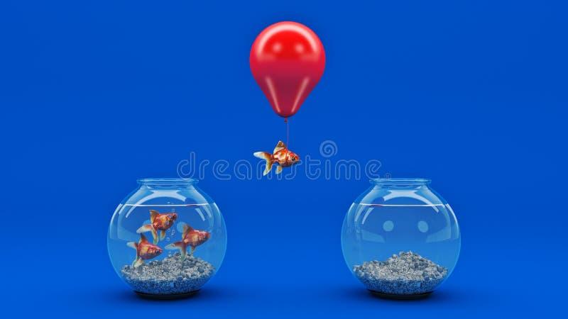 Vuelo de los pescados del oro lejos de un fishbowl con la ayuda de un globo ilustración del vector