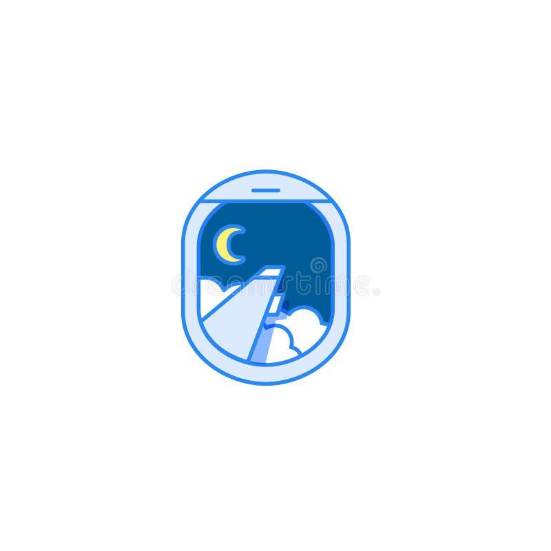 Vuelo de noche Engrana el icono Opinión de la ventana del aeroplano con el ala, la luna y las nubes stock de ilustración