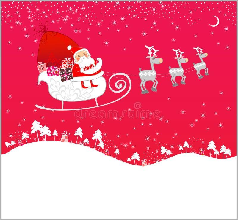 Vuelo de Papá Noel ilustración del vector