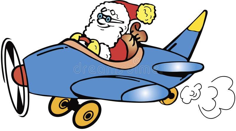 Vuelo de Papá Noel stock de ilustración