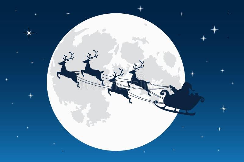 Vuelo de Papá Noel con el trineo del reno Silueta oscura Luna Llena y estrellas en el fondo Símbolo de la Navidad y del Año Nuevo stock de ilustración